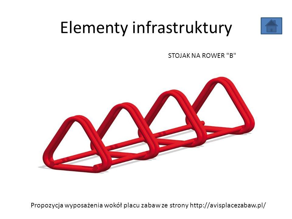 Elementy infrastruktury Propozycja wyposażenia wokół placu zabaw ze strony http://avisplacezabaw.pl/ STOJAK NA ROWER