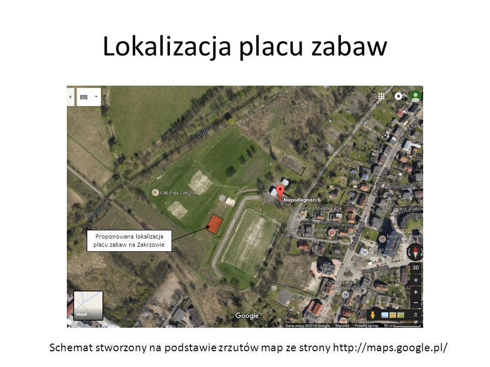 Lokalizacja placu zabaw Schemat stworzony na podstawie zrzutów map ze strony http://maps.google.pl/ Proponowana lokalizacja placu zabaw na Zakrzowie