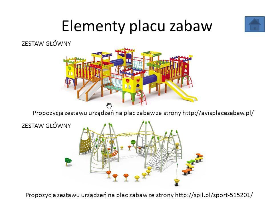 Elementy placu zabaw Propozycja zestawu urządzeń na plac zabaw ze strony http://spil.pl/sport-515201/ Propozycja zestawu urządzeń na plac zabaw ze strony http://avisplacezabaw.pl/ ZESTAW GŁÓWNY
