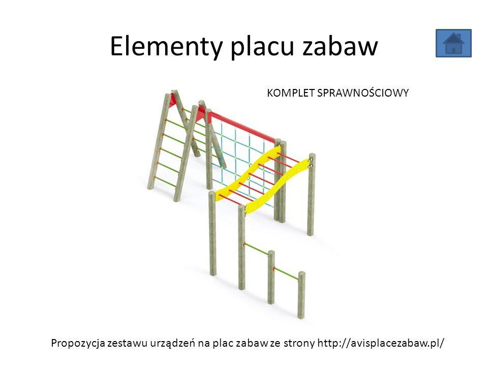 Elementy placu zabaw Propozycja zestawu urządzeń na plac zabaw ze strony http://avisplacezabaw.pl/ KOMPLET SPRAWNOŚCIOWY