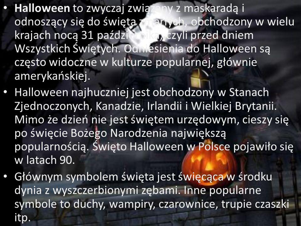 """Nazwa Halloween jest najprawdopodobniej skróconym All Hallows E'en, czyli wcze ś niejszym """"All Hallows Eve – wigilia Wszystkich Ś wi ę tych"""