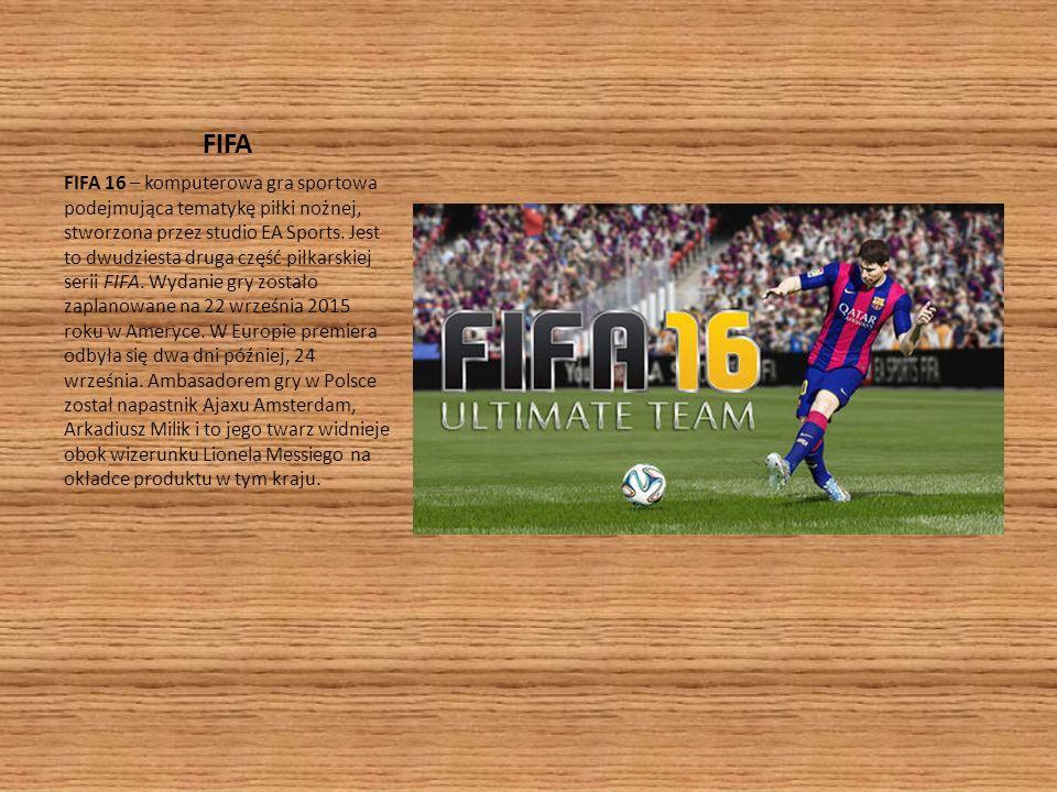 FIFA FIFA 16 – komputerowa gra sportowa podejmująca tematykę piłki nożnej, stworzona przez studio EA Sports. Jest to dwudziesta druga część piłkarskie
