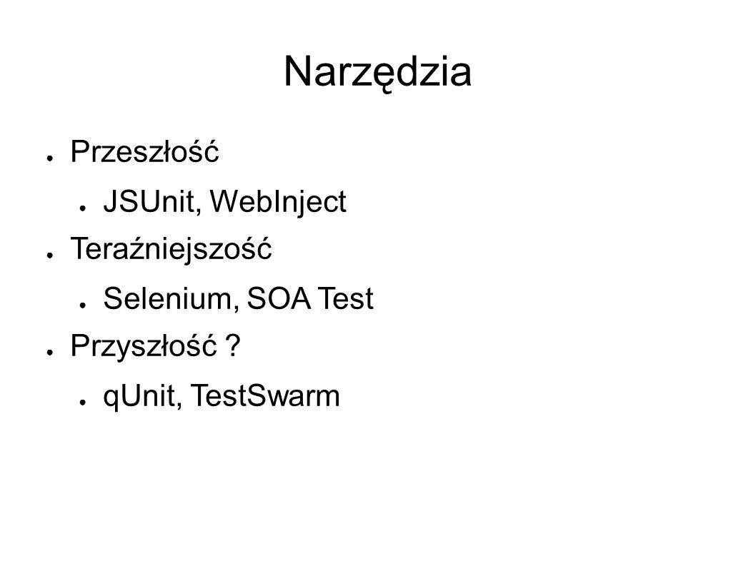 Narzędzia ● Przeszłość ● JSUnit, WebInject ● Teraźniejszość ● Selenium, SOA Test ● Przyszłość .