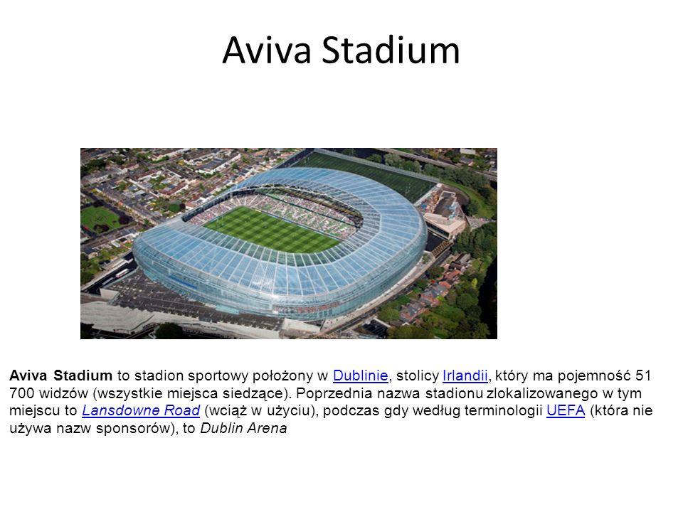 Aviva Stadium Aviva Stadium to stadion sportowy położony w Dublinie, stolicy Irlandii, który ma pojemność 51 700 widzów (wszystkie miejsca siedzące).