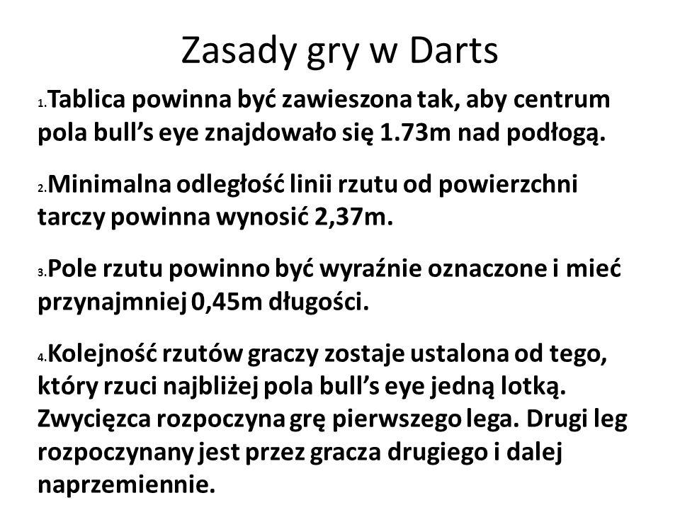 Zasady gry w Darts 1. Tablica powinna być zawieszona tak, aby centrum pola bull's eye znajdowało się 1.73m nad podłogą. 2. Minimalna odległość linii r