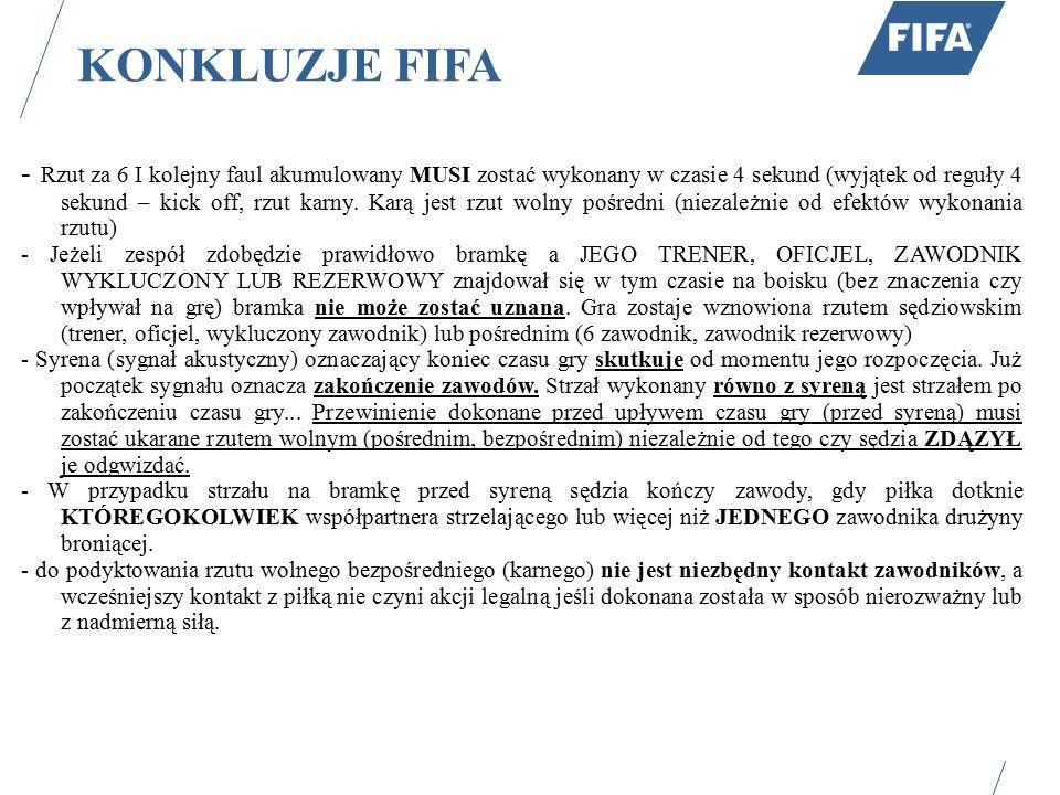 KONKLUZJE FIFA - Rzut za 6 I kolejny faul akumulowany MUSI zostać wykonany w czasie 4 sekund (wyjątek od reguły 4 sekund – kick off, rzut karny. Karą