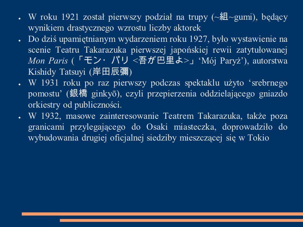 ● W roku 1921 został pierwszy podział na trupy (~ 組 ~gumi), będący wynikiem drastycznego wzrostu liczby aktorek ● Do dziś upamiętnianym wydarzeniem ro