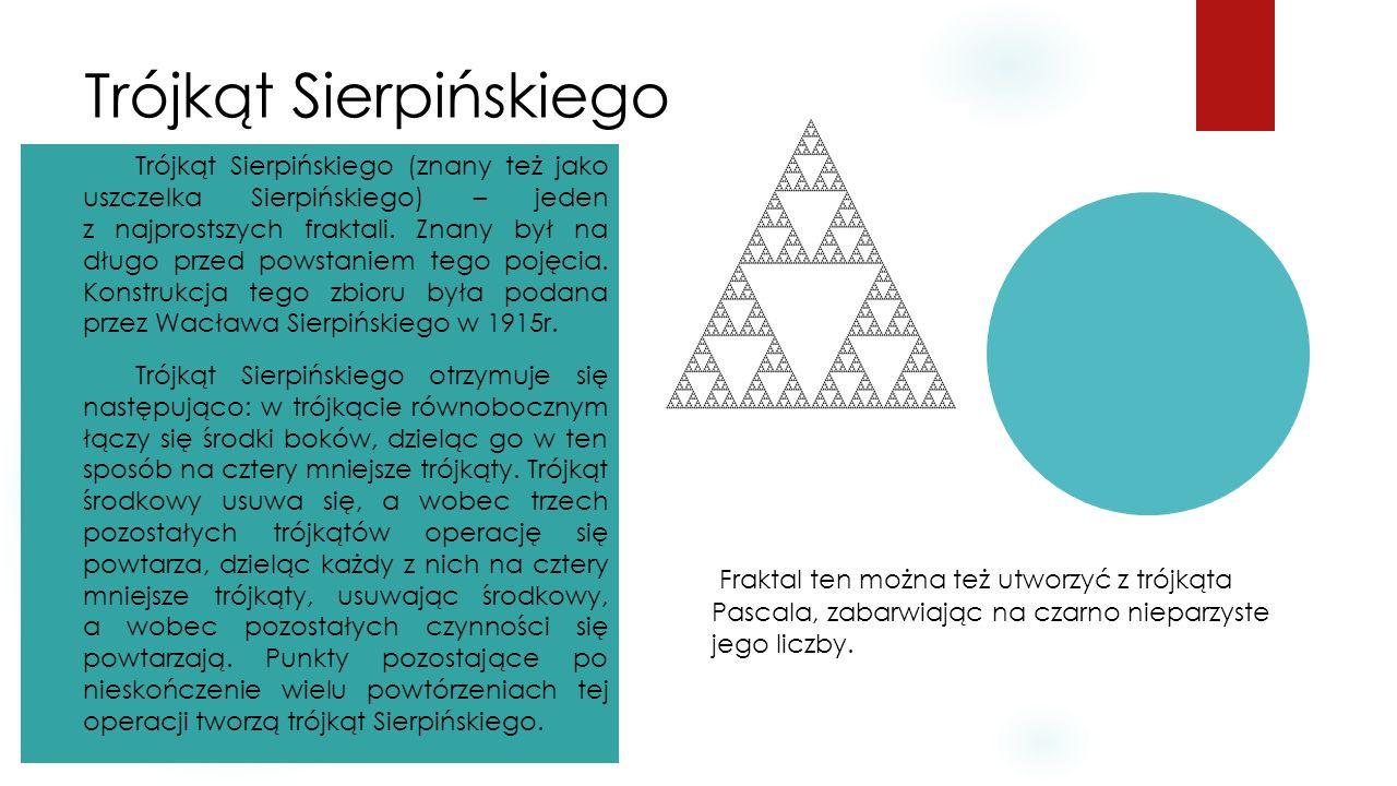 Trójkąt Sierpińskiego Trójkąt Sierpińskiego (znany też jako uszczelka Sierpińskiego) – jeden z najprostszych fraktali. Znany był na długo przed powsta