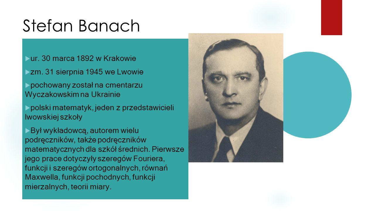 Stefan Banach  ur. 30 marca 1892 w Krakowie  zm. 31 sierpnia 1945 we Lwowie  pochowany został na cmentarzu Wyczakowskim na Ukrainie  polski matema