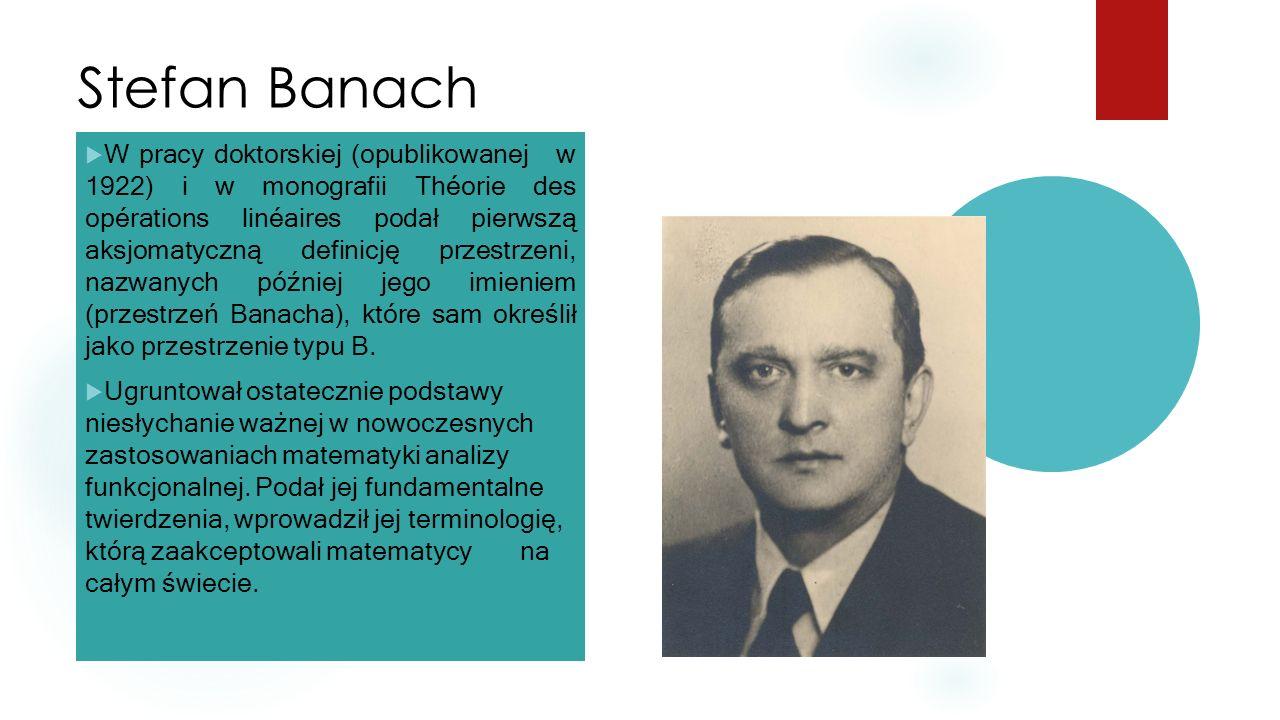 Stefan Banach  W pracy doktorskiej (opublikowanej w 1922) i w monografii Théorie des opérations linéaires podał pierwszą aksjomatyczną definicję przestrzeni, nazwanych później jego imieniem (przestrzeń Banacha), które sam określił jako przestrzenie typu B.