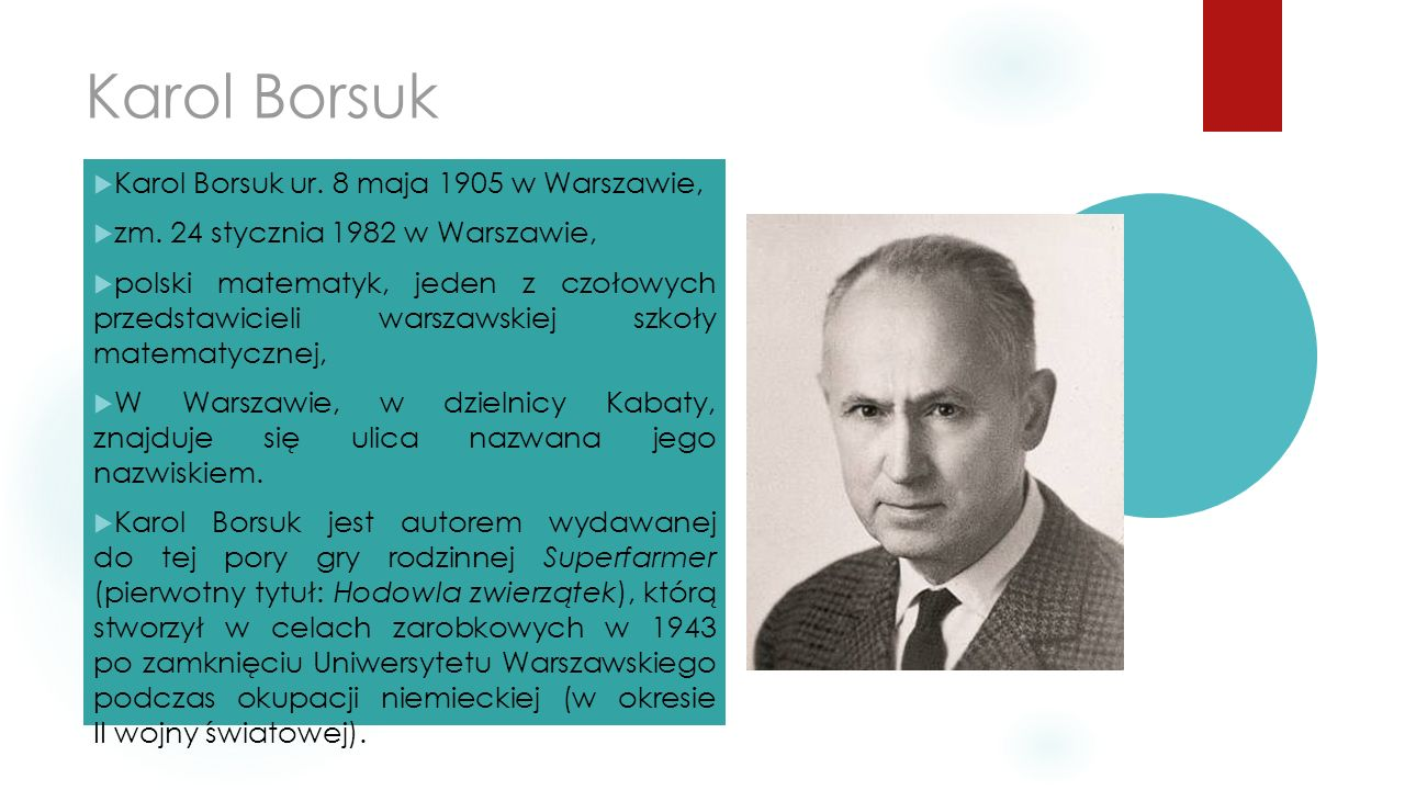 Karol Borsuk  Karol Borsuk ur. 8 maja 1905 w Warszawie,  zm. 24 stycznia 1982 w Warszawie,  polski matematyk, jeden z czołowych przedstawicieli war