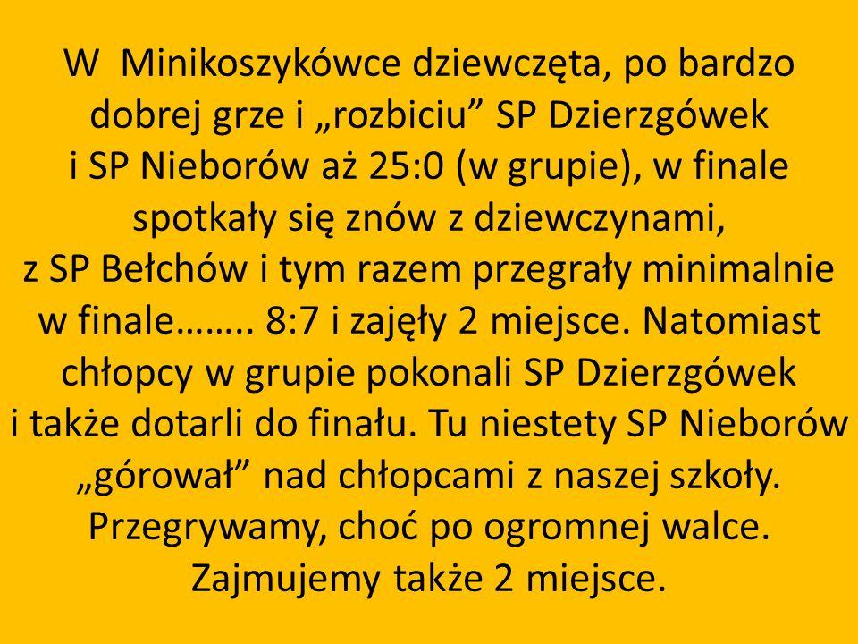 """W Minikoszykówce dziewczęta, po bardzo dobrej grze i """"rozbiciu SP Dzierzgówek i SP Nieborów aż 25:0 (w grupie), w finale spotkały się znów z dziewczynami, z SP Bełchów i tym razem przegrały minimalnie w finale…….."""