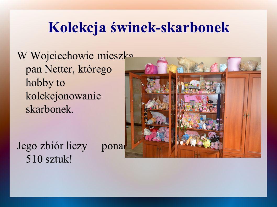 Kolekcja świnek-skarbonek W Wojciechowie mieszka pan Netter, którego hobby to kolekcjonowanie skarbonek. Jego zbiór liczy ponad 510 sztuk!