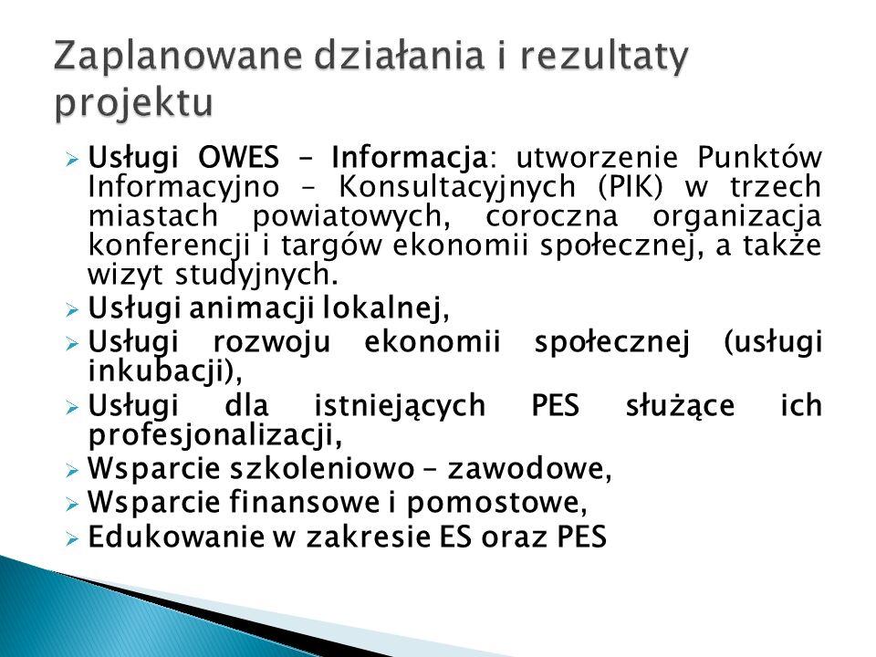  Usługi OWES – Informacja: utworzenie Punktów Informacyjno – Konsultacyjnych (PIK) w trzech miastach powiatowych, coroczna organizacja konferencji i targów ekonomii społecznej, a także wizyt studyjnych.