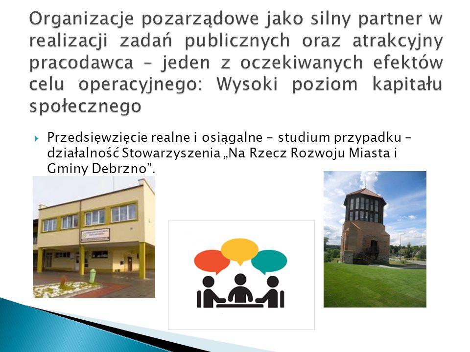 """ Przedsięwzięcie realne i osiągalne - studium przypadku – działalność Stowarzyszenia """"Na Rzecz Rozwoju Miasta i Gminy Debrzno""""."""