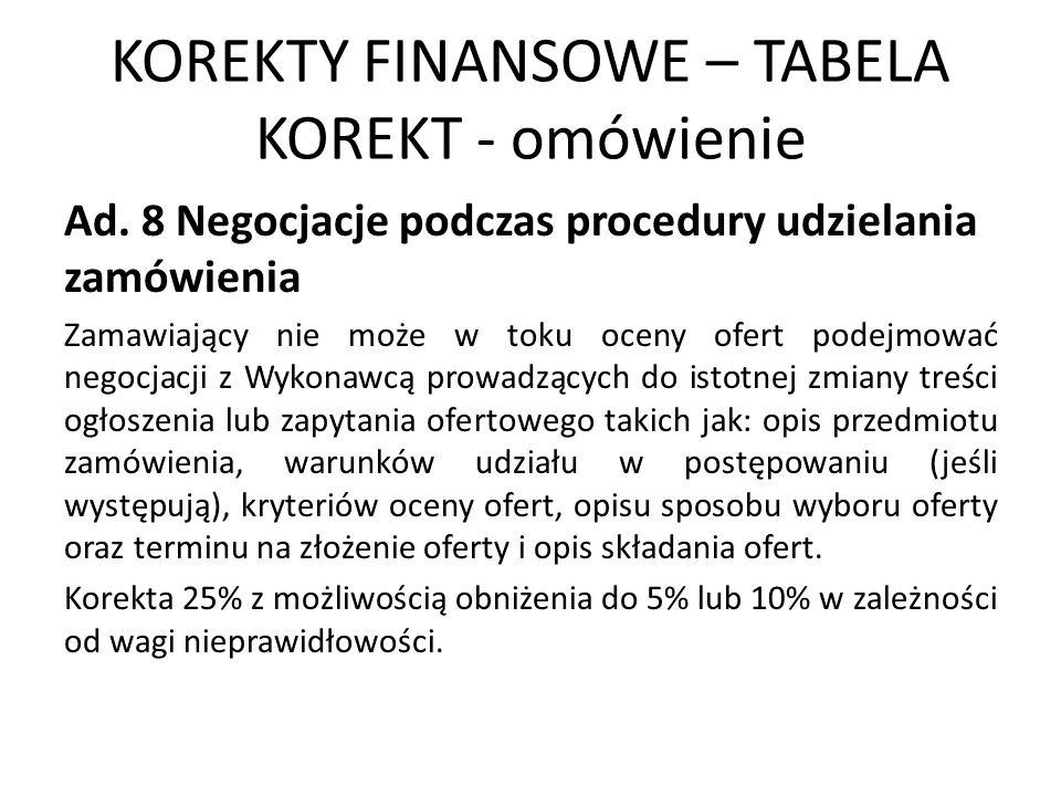 KOREKTY FINANSOWE – TABELA KOREKT - omówienie Ad. 8 Negocjacje podczas procedury udzielania zamówienia Zamawiający nie może w toku oceny ofert podejmo