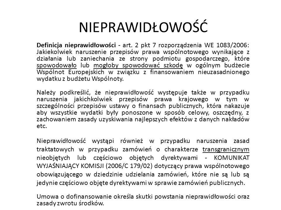 NIEPRAWIDŁOWOŚĆ Definicja nieprawidłowości - art. 2 pkt 7 rozporządzenia WE 1083/2006: Jakiekolwiek naruszenie przepisów prawa wspólnotowego wynikając