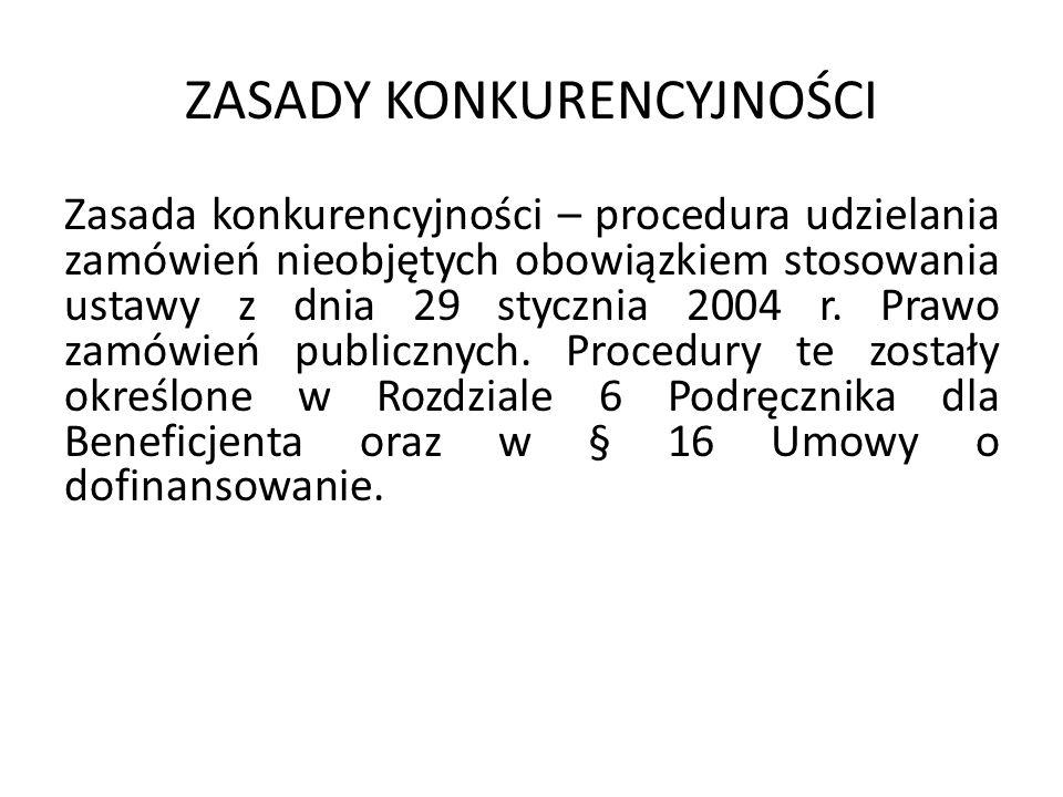 ZASADY KONKURENCYJNOŚCI Zasada konkurencyjności – procedura udzielania zamówień nieobjętych obowiązkiem stosowania ustawy z dnia 29 stycznia 2004 r.