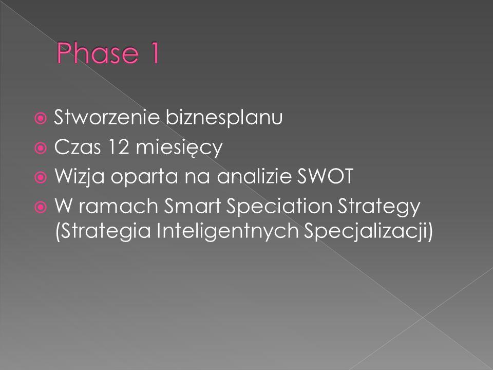  Stworzenie biznesplanu  Czas 12 miesięcy  Wizja oparta na analizie SWOT  W ramach Smart Speciation Strategy (Strategia Inteligentnych Specjalizacji)