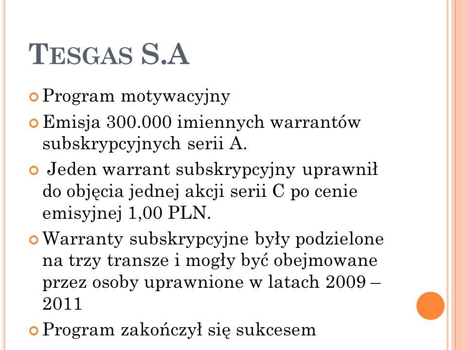 T ESGAS S.A Program motywacyjny Emisja 300.000 imiennych warrantów subskrypcyjnych serii A.