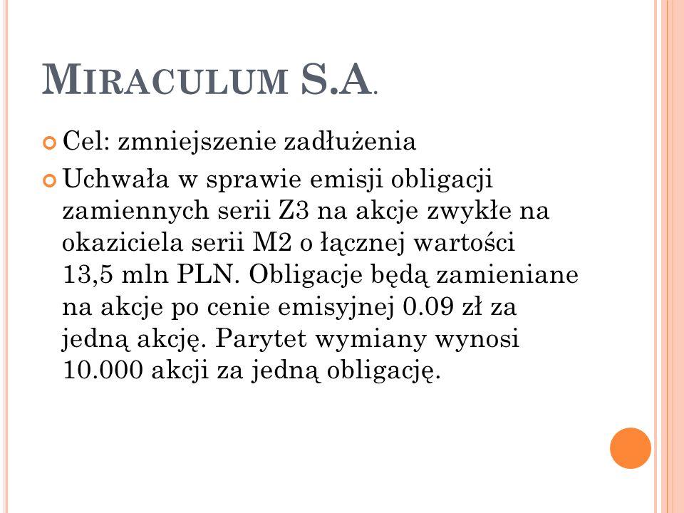 M IRACULUM S.A.
