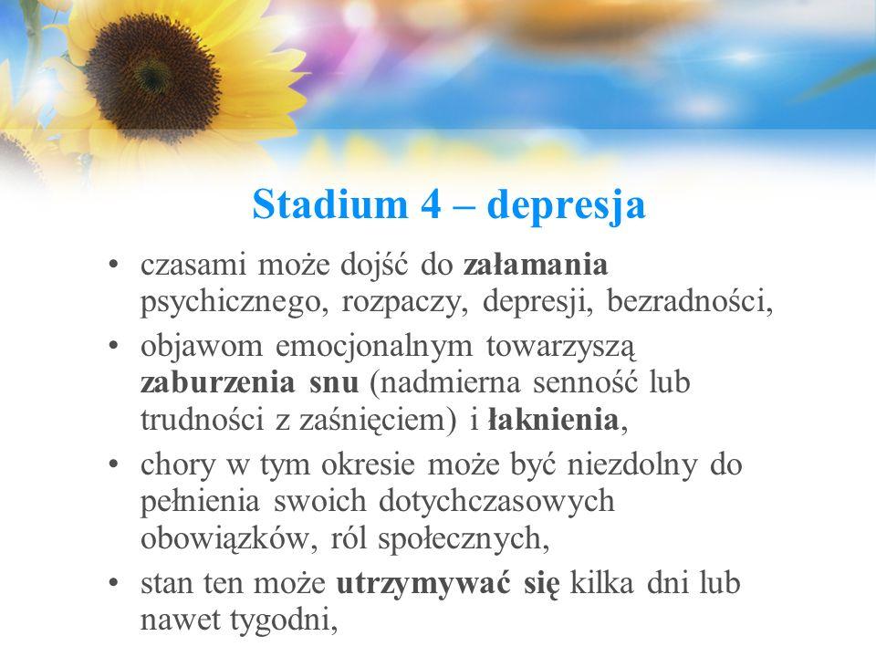 Stadium 4 – depresja czasami może dojść do załamania psychicznego, rozpaczy, depresji, bezradności, objawom emocjonalnym towarzyszą zaburzenia snu (na