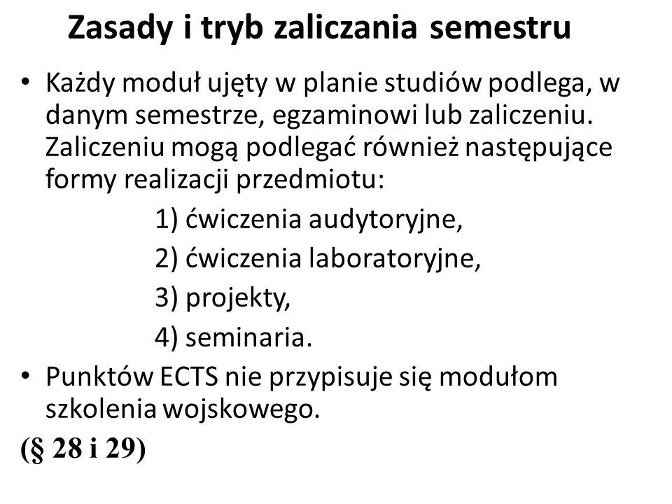 Każdy moduł ujęty w planie studiów podlega, w danym semestrze, egzaminowi lub zaliczeniu.