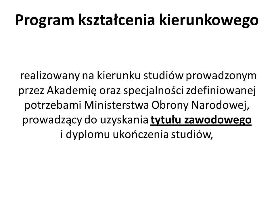 Program kształcenia kierunkowego realizowany na kierunku studiów prowadzonym przez Akademię oraz specjalności zdefiniowanej potrzebami Ministerstwa Ob