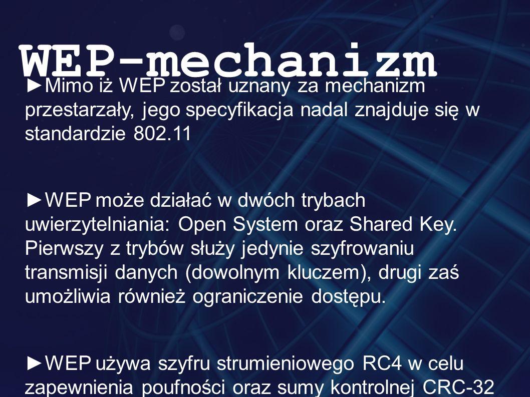 ►Mimo iż WEP został uznany za mechanizm przestarzały, jego specyfikacja nadal znajduje się w standardzie 802.11 ►WEP może działać w dwóch trybach uwierzytelniania: Open System oraz Shared Key.