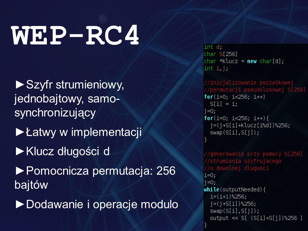 ►Szyfr strumieniowy, jednobajtowy, samo- synchronizujący ►Łatwy w implementacji ►Klucz długości d ►Pomocnicza permutacja: 256 bajtów ►Dodawanie i operacje modulo WEP-RC4