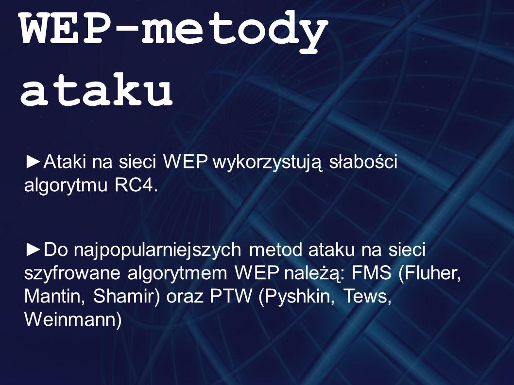 ►Ataki na sieci WEP wykorzystują słabości algorytmu RC4.