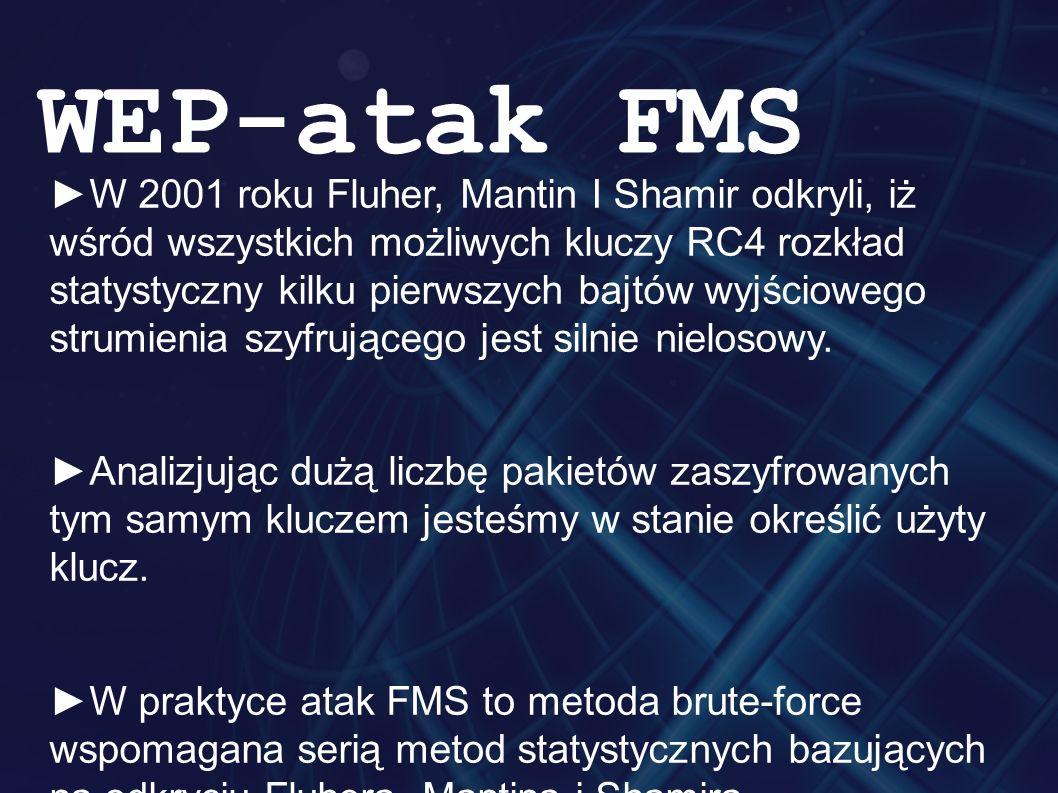 ►W 2001 roku Fluher, Mantin I Shamir odkryli, iż wśród wszystkich możliwych kluczy RC4 rozkład statystyczny kilku pierwszych bajtów wyjściowego strumienia szyfrującego jest silnie nielosowy.