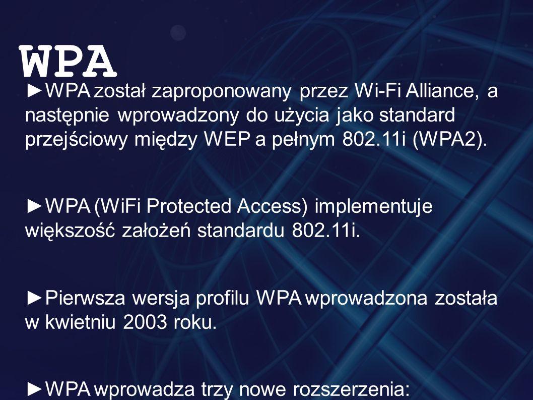 ►WPA został zaproponowany przez Wi-Fi Alliance, a następnie wprowadzony do użycia jako standard przejściowy między WEP a pełnym 802.11i (WPA2).