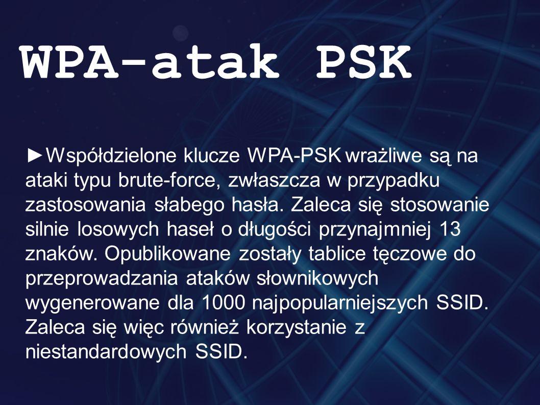 ►Współdzielone klucze WPA-PSK wrażliwe są na ataki typu brute-force, zwłaszcza w przypadku zastosowania słabego hasła.