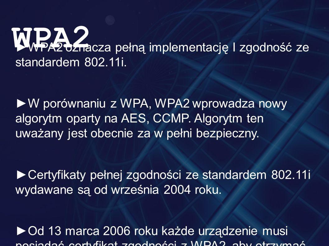 ►WPA2 oznacza pełną implementację I zgodność ze standardem 802.11i. ►W porównaniu z WPA, WPA2 wprowadza nowy algorytm oparty na AES, CCMP. Algorytm te