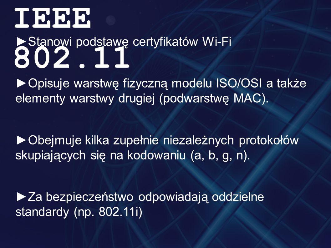 ►Stanowi podstawę certyfikatów Wi-Fi ►Opisuje warstwę fizyczną modelu ISO/OSI a także elementy warstwy drugiej (podwarstwę MAC).