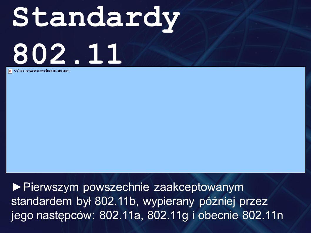 Standardy 802.11 ►Pierwszym powszechnie zaakceptowanym standardem był 802.11b, wypierany później przez jego następców: 802.11a, 802.11g i obecnie 802.11n