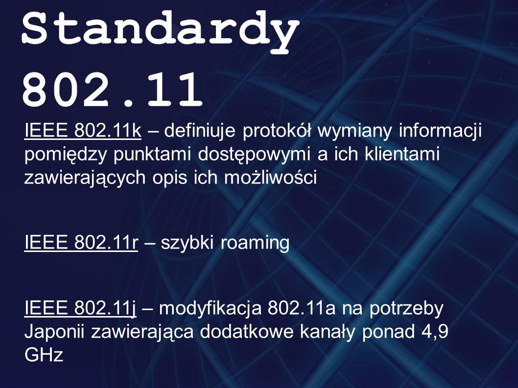 IEEE 802.11k – definiuje protokół wymiany informacji pomiędzy punktami dostępowymi a ich klientami zawierających opis ich możliwości IEEE 802.11r – sz