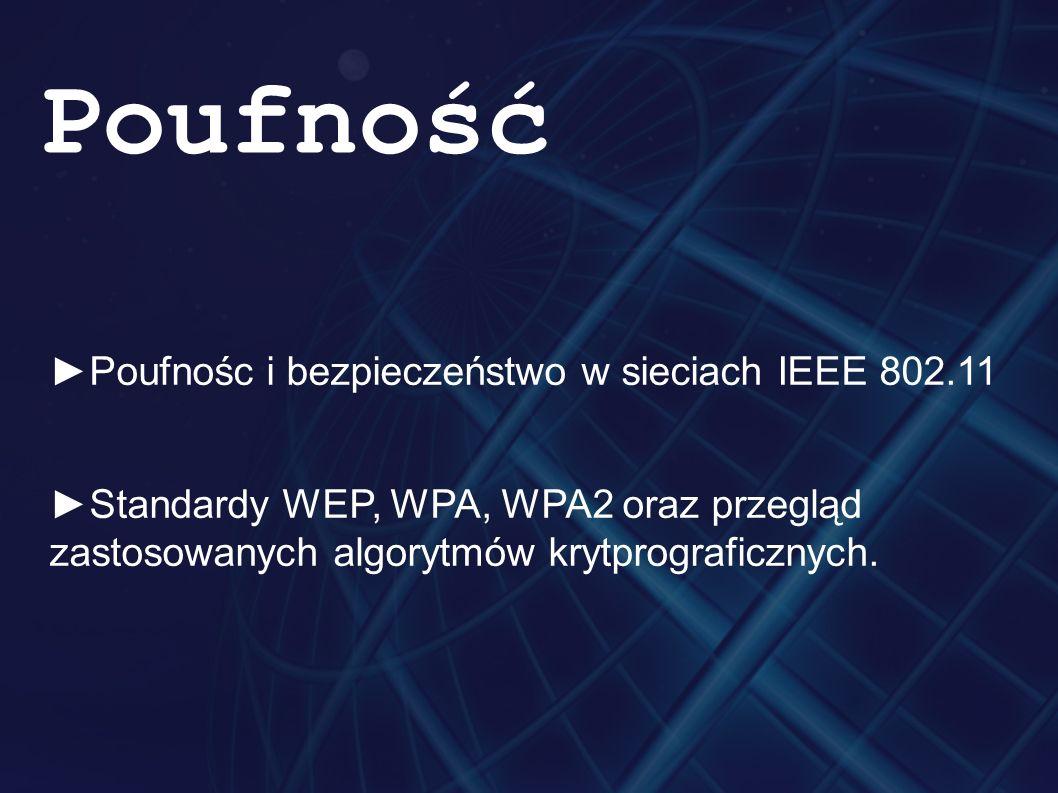 ►Poufnośc i bezpieczeństwo w sieciach IEEE 802.11 ►Standardy WEP, WPA, WPA2 oraz przegląd zastosowanych algorytmów krytprograficznych. Poufność