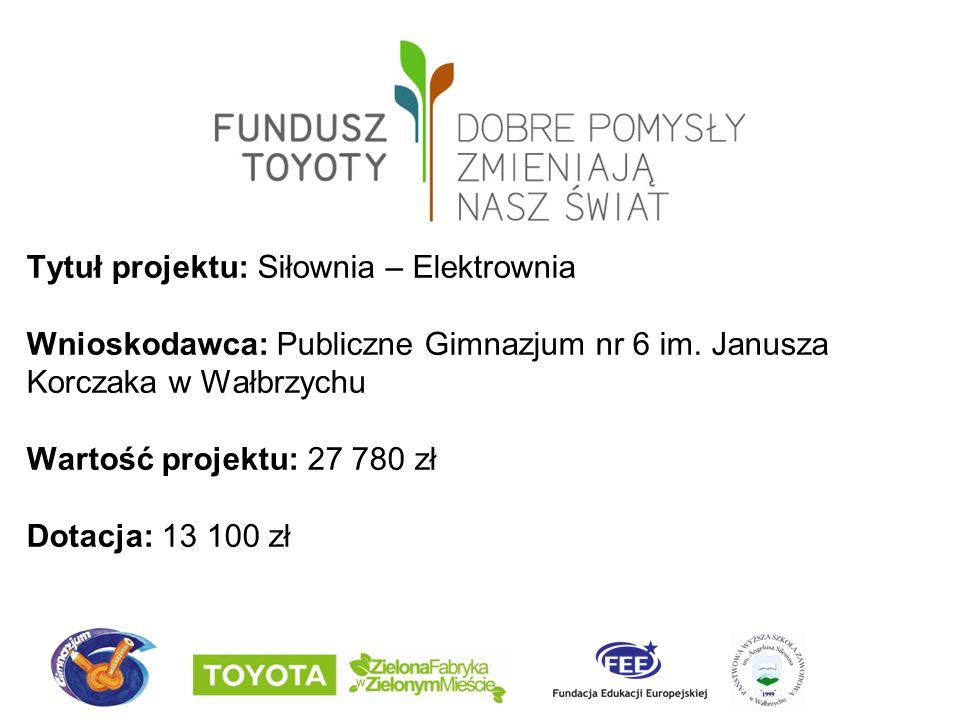Tytuł projektu: Siłownia – Elektrownia Wnioskodawca: Publiczne Gimnazjum nr 6 im.
