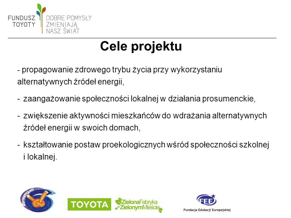 date 19/09/2016 - page 4 - propagowanie zdrowego trybu życia przy wykorzystaniu alternatywnych źródeł energii, -zaangażowanie społeczności lokalnej w działania prosumenckie, -zwiększenie aktywności mieszkańców do wdrażania alternatywnych źródeł energii w swoich domach, -kształtowanie postaw proekologicznych wśród społeczności szkolnej i lokalnej.