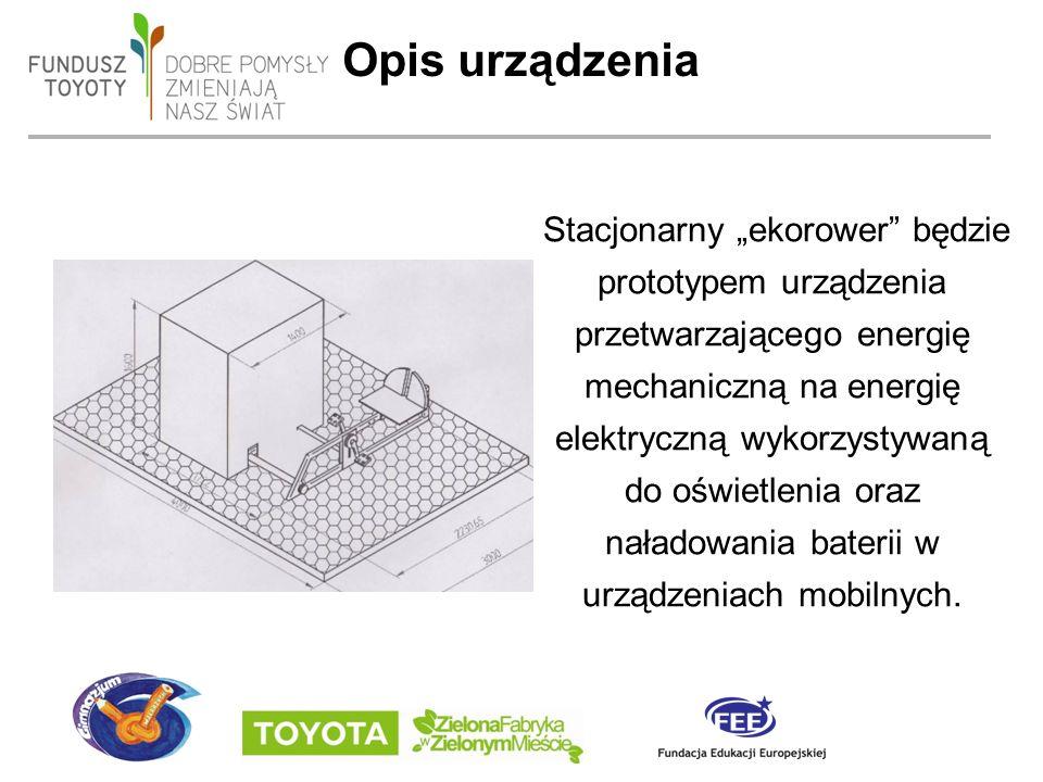 """date 19/09/2016 - page 5 Opis urządzenia Stacjonarny """"ekorower będzie prototypem urządzenia przetwarzającego energię mechaniczną na energię elektryczną wykorzystywaną do oświetlenia oraz naładowania baterii w urządzeniach mobilnych."""