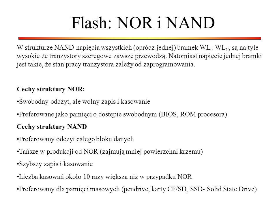 Flash: NOR i NAND W strukturze NAND napięcia wszystkich (oprócz jednej) bramek WL 0 -WL 15 są na tyle wysokie że tranzystory szeregowe zawsze przewodzą.