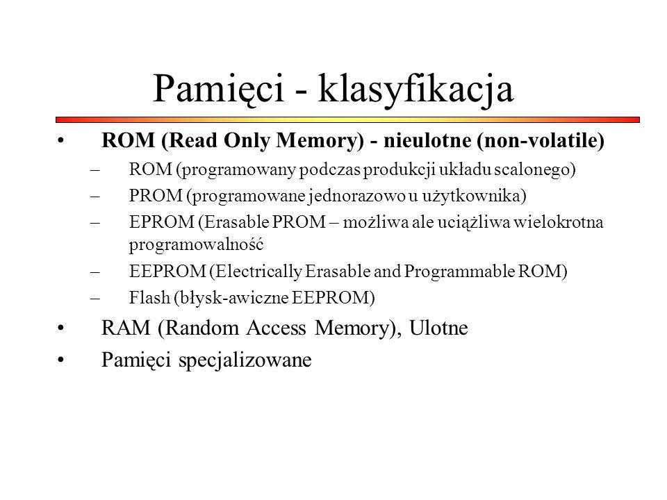 Pamięci - klasyfikacja ROM (Read Only Memory) - nieulotne (non-volatile) –ROM (programowany podczas produkcji układu scalonego) –PROM (programowane jednorazowo u użytkownika) –EPROM (Erasable PROM – możliwa ale uciążliwa wielokrotna programowalność –EEPROM (Electrically Erasable and Programmable ROM) –Flash (błysk-awiczne EEPROM) RAM (Random Access Memory), Ulotne Pamięci specjalizowane