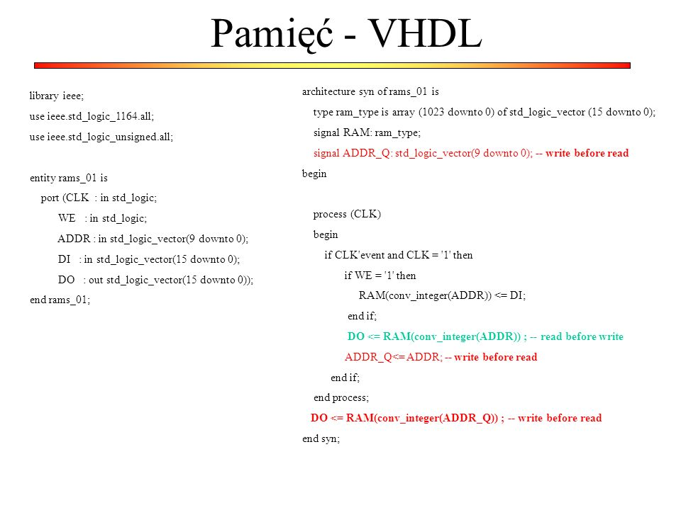 Pamięć - VHDL library ieee; use ieee.std_logic_1164.all; use ieee.std_logic_unsigned.all; entity rams_01 is port (CLK : in std_logic; WE : in std_logic; ADDR : in std_logic_vector(9 downto 0); DI : in std_logic_vector(15 downto 0); DO : out std_logic_vector(15 downto 0)); end rams_01; architecture syn of rams_01 is type ram_type is array (1023 downto 0) of std_logic_vector (15 downto 0); signal RAM: ram_type; signal ADDR_Q: std_logic_vector(9 downto 0); -- write before read begin process (CLK) begin if CLK event and CLK = 1 then if WE = 1 then RAM(conv_integer(ADDR)) <= DI; end if; DO <= RAM(conv_integer(ADDR)) ; -- read before write ADDR_Q<= ADDR; -- write before read end if; end process; DO <= RAM(conv_integer(ADDR_Q)) ; -- write before read end syn;
