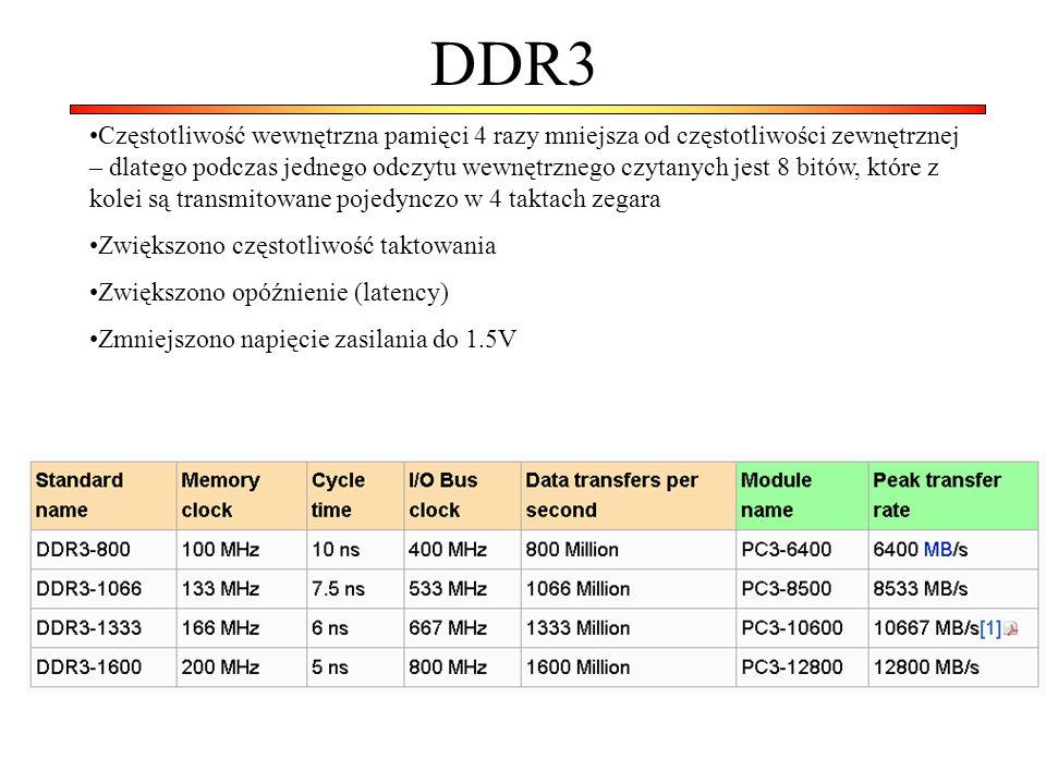 DDR3 Częstotliwość wewnętrzna pamięci 4 razy mniejsza od częstotliwości zewnętrznej – dlatego podczas jednego odczytu wewnętrznego czytanych jest 8 bitów, które z kolei są transmitowane pojedynczo w 4 taktach zegara Zwiększono częstotliwość taktowania Zwiększono opóźnienie (latency) Zmniejszono napięcie zasilania do 1.5V