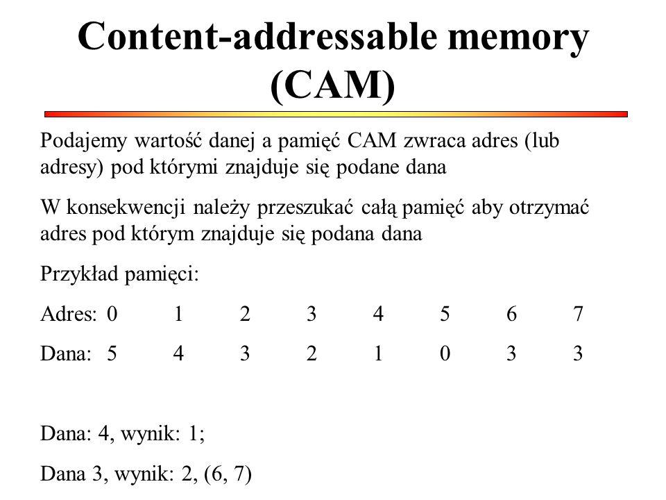 Content-addressable memory (CAM) Podajemy wartość danej a pamięć CAM zwraca adres (lub adresy) pod którymi znajduje się podane dana W konsekwencji należy przeszukać całą pamięć aby otrzymać adres pod którym znajduje się podana dana Przykład pamięci: Adres:01234567 Dana:54321033 Dana: 4, wynik: 1; Dana 3, wynik: 2, (6, 7)