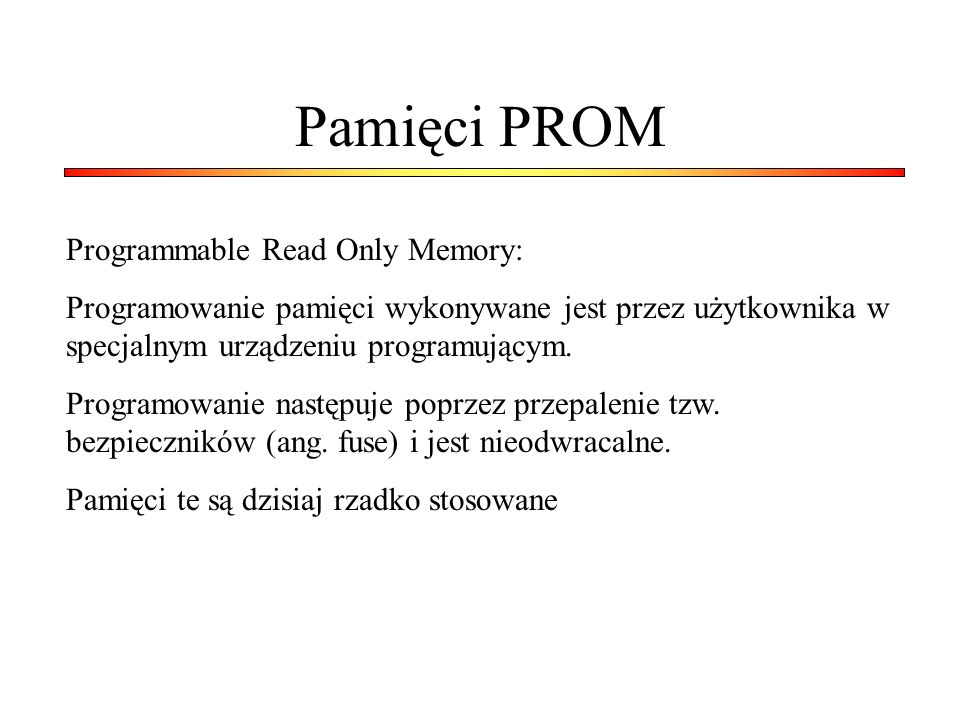 Przykład pamięci ROM w VHDL library ieee; use ieee.std_logic_1164.all; use ieee.std_logic_unsigned.all; entity rom is port ( ADDR : in std_logic_vector(5 downto 0); DATA : out std_logic_vector(19 downto 0)); end rom; architecture syn of rom is type rom_type is array (63 downto 0) of std_logic_vector (19 downto 0); signal ROM : rom_type:= (X 0200A , X 00300 , X 08101 , X 04000 , X 08601 , X 0233A , X 00300 , X 08602 , X 02310 , X 0203B , X 08300 , X 04002 , X 08201 , X 00500 , X 04001 , X 02500 , X 00340 , X 00241 , X 04002 , X 08300 , X 08201 , X 00500 , X 08101 , X 00602 , X 04003 , X 0241E , X 00301 , X 00102 , X 02122 , X 02021 , X 00301 , X 00102 , X 02222 , X 04001 , X 00342 , X 0232B , X 00900 , X 00302 , X 00102 , X 04002 , X 00900 , X 08201 , X 02023 , X 00303 , X 02433 , X 00301 , X 04004 , X 00301 , X 00102 , X 02137 , X 02036 , X 00301 , X 00102 , X 02237 , X 04004 , X 00304 , X 04040 , X 02500 , X 02500 , X 02500 , X 0030D , X 02341 , X 08201 , X 0400D ); begin data <= ROM(conv_integer(ADDR)); end syn;