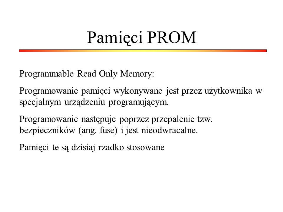 Pamięci PROM Programmable Read Only Memory: Programowanie pamięci wykonywane jest przez użytkownika w specjalnym urządzeniu programującym. Programowan