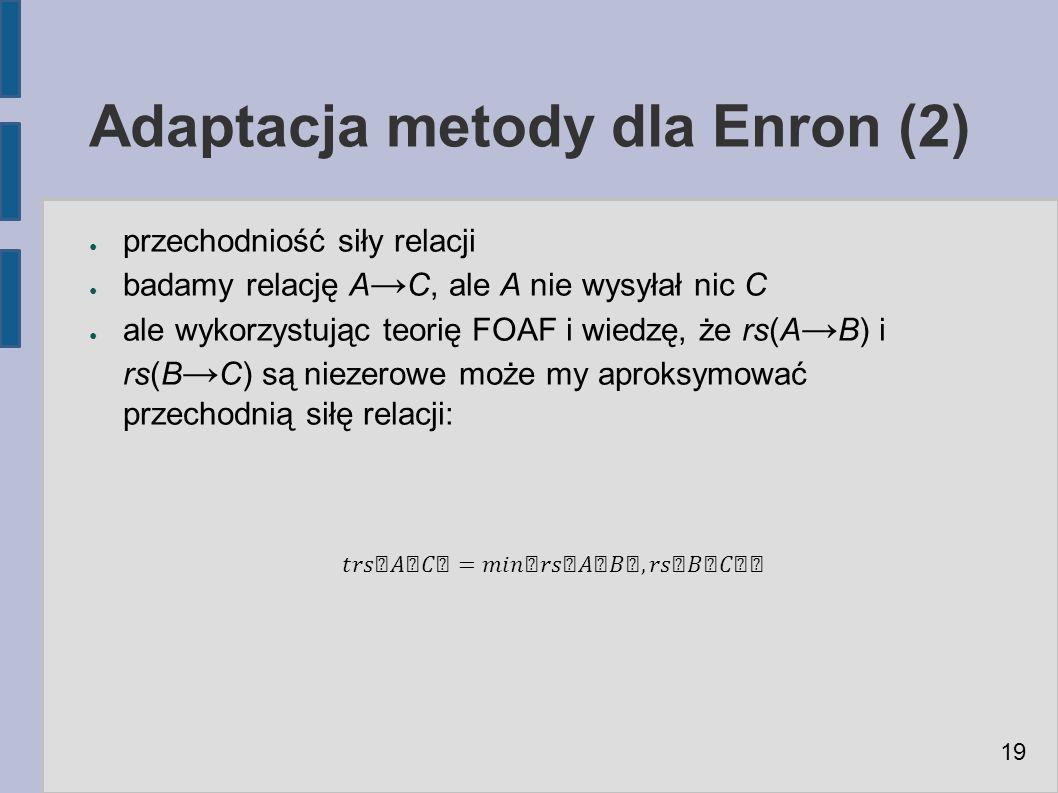 Adaptacja metody dla Enron (2) ● przechodniość siły relacji ● badamy relację A → C, ale A nie wysyłał nic C ● ale wykorzystując teorię FOAF i wiedzę, że rs(A → B) i rs(B → C) są niezerowe może my aproksymować przechodnią siłę relacji: 19
